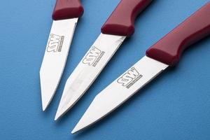 Ssw noże kuchenne do warzyw i owoców zestaw 3 sztuk mix kolorów