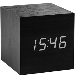Budzik Cube Click Clock Gingko biały wyświetlacz LED, czarny GK08W10