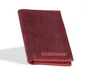 Skórzany cienki portfel slim wallet brodrene sw03 czerwony - czerwony