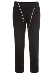 Spodnie 78 z asymetryczną plisą guzikową bonprix czarny