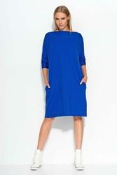 Chabrowa Sukienka Mini z Rozkloszowanym Dołem