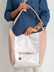 Torebka damska shopper bag worek 0007 różowo srebrna - srebrny