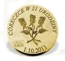 Grosz na szczęście duży ze złota d-7z doskonały prezent na każdą okazję