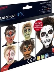Zestaw farb do twarzy i ciała z przewodnikiem krok po kroku halloween