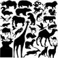 Obraz na płótnie canvas czteroczęściowy tetraptyk 30 sztuk wektorów dzikich zwierząt sylwetki.