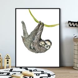 Plakat dla dzieci - slothy art , wymiary - 40cm x 50cm, kolor ramki - biały