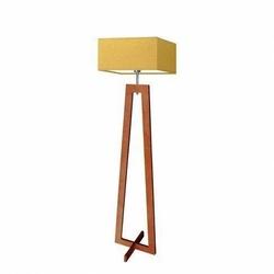 Lampa podłogowa jawa abażur musztardowy stelaż mahoniowy - żółty