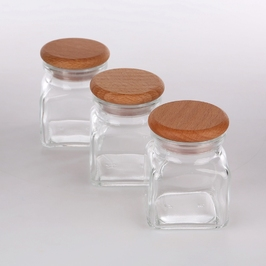 Pojemnik na przyprawy i produkty sypkie  do przechowywania practic szklany 120 ml, komplet 3 szt.