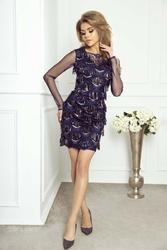 Granatowa elegancka sukienka wieczorowa z cekinami