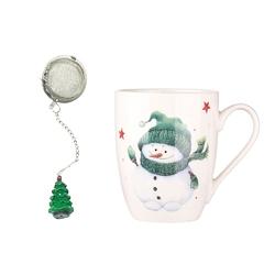 Kubek porcelanowy świąteczny  na prezent z zaparzaczem i ozdobną figurką altom design zimowy bałwanek 300 ml opakowanie prezentowe