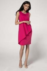 Ołówkowa różowa sukienka z asymetryczną nakładką