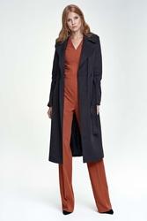 Czarny elegancki płaszcz z paskiem
