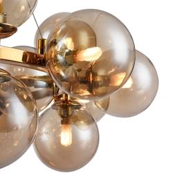 Złota lampa wisząca z bursztynowymi bańkami dallas maytoni modern mod548pl-25g