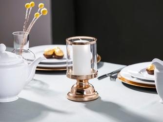 Świecznik  lampion dekoracyjny szklany na nóżce altom design złoty 13 x 26,5 cm