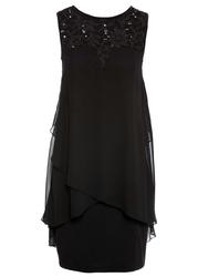 Sukienka z dżerseju i szyfonu bonprix czarny