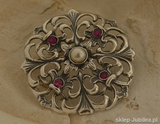 Dorota - srebrna rozeta perła i rubiny