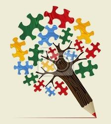 Obraz koncepcji strategicznej układanki ołówek drzewo
