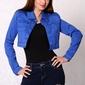 3616-2 jeansowa kurteczka na guziki, krótka - chabrowy