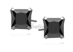 Srebrne kolczyki pr.925 cyrkonia czarna 7 x 7mm kwadratowe