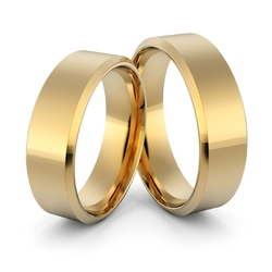 Obrączki ślubne klasyczne płaskie fazowane 6 mm