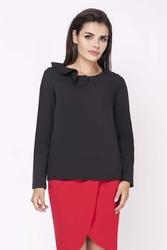 Czarna elegancka bluzka wizytowa z falbanką przy dekolcie