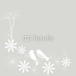 Obraz na płótnie canvas dwuczęściowy dyptyk sakura i ptaki kwiat wiśni