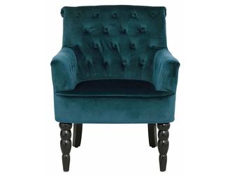 Elegancki zielony fotel amanda na czarnych toczonych nogach