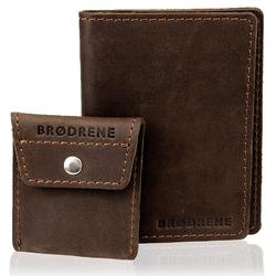Skórzany zestaw portfel i bilonówka brodrene sw07 + cw02 ciemnobrązowy - c. brązowy
