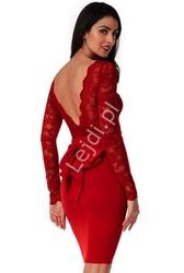 Sukienka na wesele, dla druhen z kokardą z tyłu | wieczorowa goddess , ciemne wino 987a