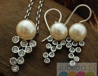 Srebrny komplet z perłą i kryształami CELEBRA