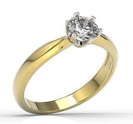 Pierścionek zaręczynowy z żółtego i białego złota z brylantem, model ap-3668zb - żółte i białe
