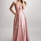 Długa suknia wieczorowa o metalicznym różowym połysku 2180 , ostatnia sztuka