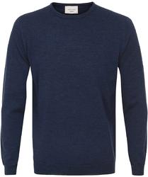 Sweter  pulower o-neck z wełny z merynosów w kolorze jeansu S