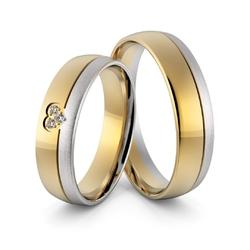 Obrączki ślubne dwukolorowe z sercem i brylantami - au-966