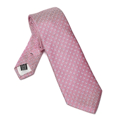Elegancki DŁUGI różowy krawat Van Thorn w błękitne kropki