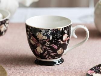 Duży kubek na stopce  filiżanka jumbo porcelanowa na prezent altom design  black lily 350 ml