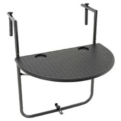 Stolik balkonowy 59,5x40 cm czarny do zawieszenia składany
