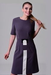 Grafitowa sukienka do pracy z krótkim rękawem hervi