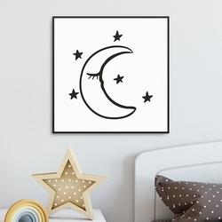Scandi moon - plakat dla dzieci , wymiary - 60cm x 60cm, kolor ramki - biały