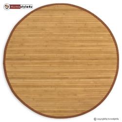 Mata bambusowa okrągła, dywanik bambusowy 90 cm brązowy