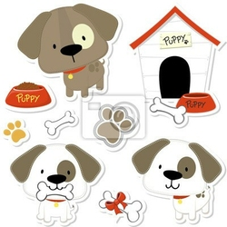 Naklejka cute puppy na vector collection notatniku