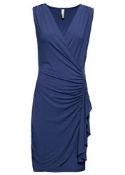 Sukienka kopertowa z falbaną bonprix ciemnoniebieski