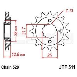 Zębatka przednia jt f511-14, 14z, rozmiar 520 2201458 kawasaki klr 650