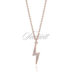 Srebrny pozłacany naszyjnik pr.925 z błyskawicą z cyrkoniami - różowe złoto - różowe złoto
