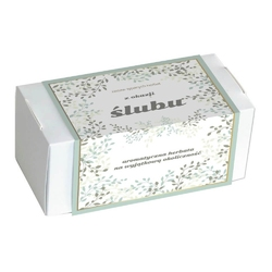 Zestaw herbat z okazji ślubu - elegancki box z 20 saszetkami herbat sypanych o różnych smakach i rodzajach 20x 5g8g
