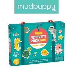 Mudpuppy zestaw kreatywny naklejki, malowanki, łamigłówki z 5 kredkami pod wodą 4+