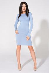Niebieska Sukienka Bodycon z Dekoltem na Plecach