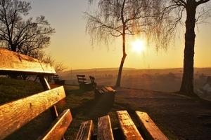 Fototapeta na ścianę parkowe ławki w blasku słońca fp 3415