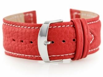 Pasek skórzany do zegarka W71 - czerwony - 24mm
