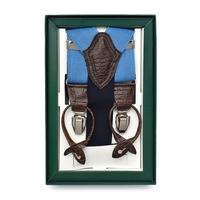 Błękitne lniane szelki do spodni
